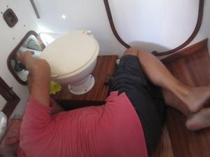 Akrobatische Meisterleistung: Einbau der Toilettenpumpe
